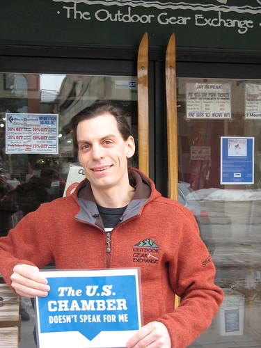 """The US Chamber Doesn't Speak For Me."" Mike Donohue, Outdoor Gear Exchange, Burlington, VT"