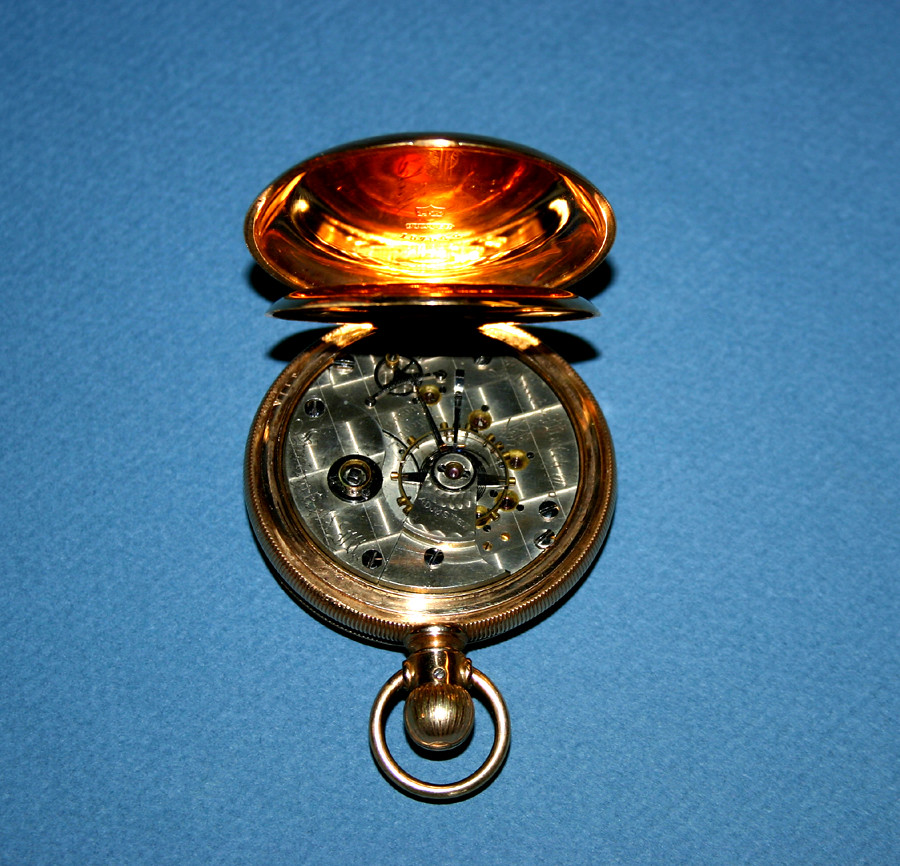 1880 Illinois Watch Co. Pocket watch - Solid 14KT GOLD Railroad Watch - Engraved - 01
