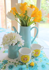 ~ Yellow and blue ~ (citrusandorange) Tags: flowers blue home yellow vintage tablecloth coffepot sfgirlbybay