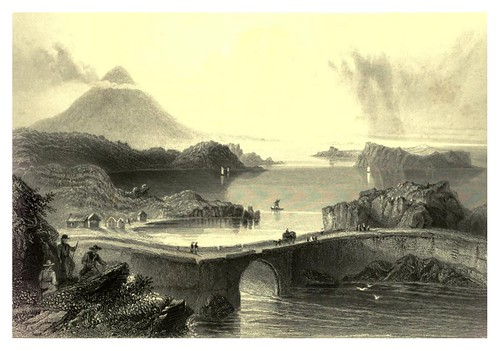 007-Puente de pontones y Monte Nephin -The scenery and antiquities of Ireland -Vol I-1842-W. H. Bartlett