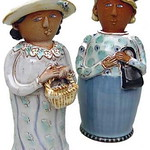 """<b>Woman with Basket</b><br/> Mary Deneen, LC '72 and Martha Winter, LC '72 (earthenware, 2001) LFAC#2002:05:05<a href=""""http://farm6.static.flickr.com/5178/5490327755_316119a4b1_o.jpg"""" title=""""High res"""">∝</a>"""