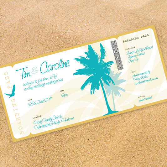 beach party boarding pass invitation