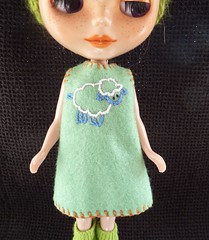 hand embroidered and hand sewn dress for blythe