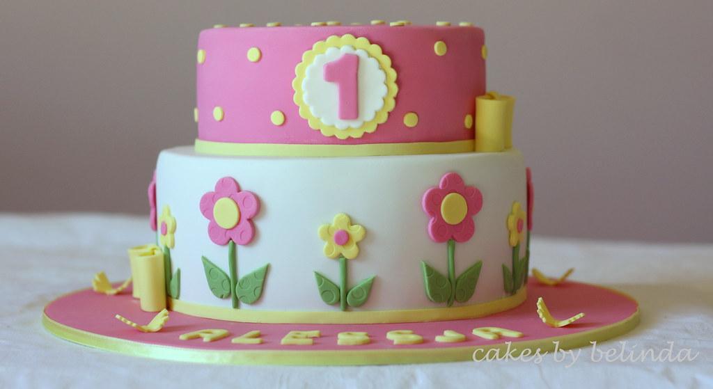 Flower 1st Birthday Cake