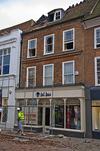 Fire damage to accommodation over the 4 storey Fat Face shop in Chichester.