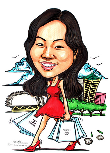 Shopaholic caricature for Standard Chartered Bank