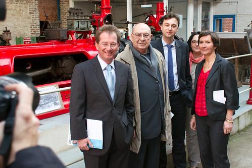 Didier Marie et Valérie Fourneyron en visite au moulin Saint-Gilles