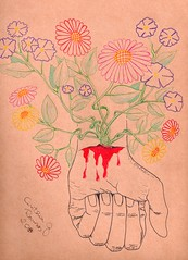 Que de cada dor floresçam alegria, conforto e sabedoria. (Cin Salabim) Tags: flower pain blood hand drawing flor dor mão desenho sangue