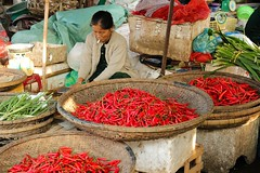 Reupload - A Woman Selling Red Hot Chili Peppers At a Market in Hue/Hu, Vietnam (Maria_Globetrotter) Tags: red hot asian colorful chili culture peppers spicy