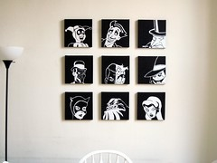 Wall Of Villains (trpnblies7) Tags: penguin acrylic scarecrow batman joker catwoman riddler poisonivy villains harleyquinn twoface clayface