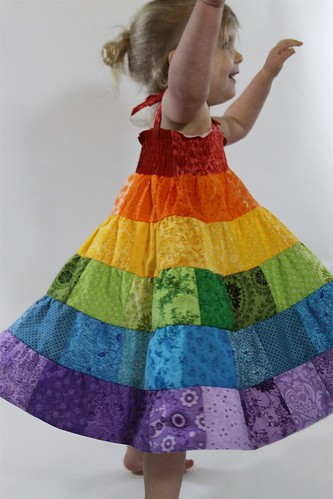 Handmade Patchwork Rainbow Baby/Toddler Tiered Twirl Dress