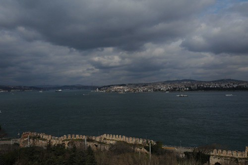 The original Palace walls and the Bosphorus