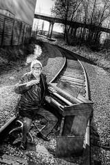 Railroad Tracks and an Organ - Norman 2050 (JLPhotoArt - Jeremy Lindstrom) Tags: ca musician music canada vintage keyboard bc surrealism traintracks surreal oldman retro newwestminster unplugged railroadtracks lowreyorgan