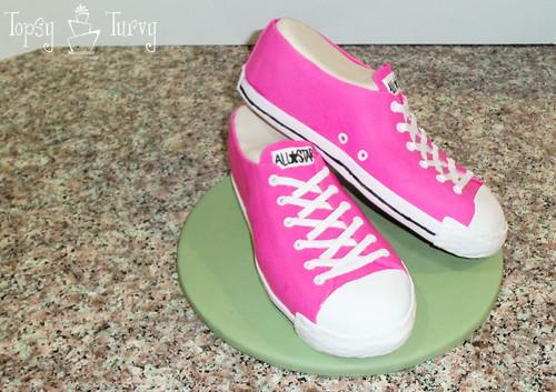 Converse Shoe Fondant Cake Carved