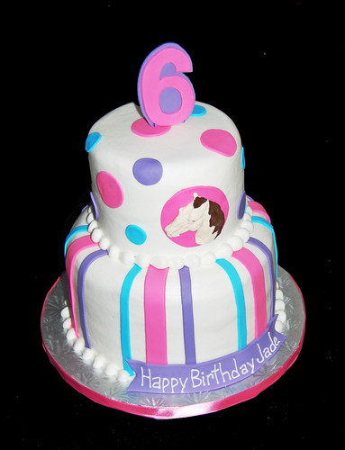 pink, purple and blue horse themed 6th birthday cake