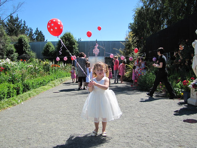 white tulle and a red and white polka dot ballon