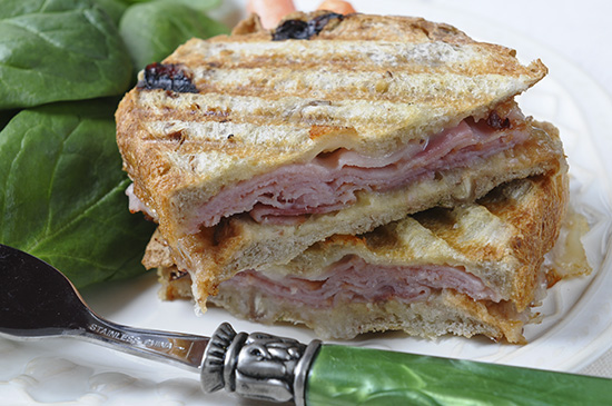 Rosemary Yeast Bread with Dried Cherries and Pecans (A Bread Machine Recipe) - ham and cheese panini