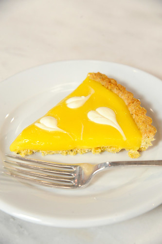 Lemon tart with creme fraiche leaves