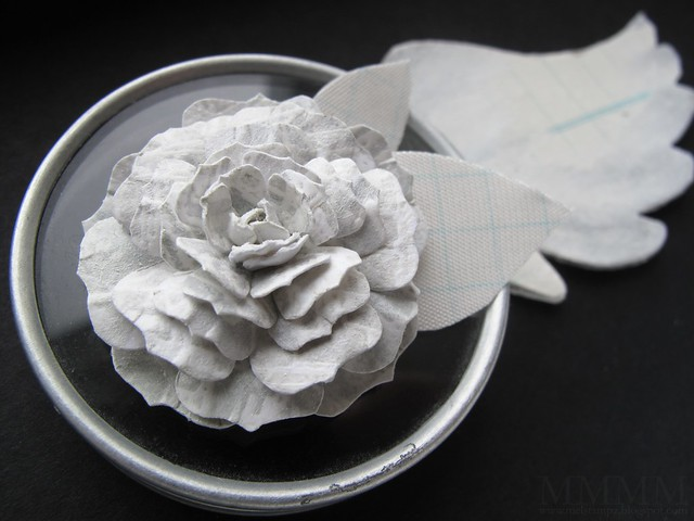 hand cut paper rose emboss resist with paint