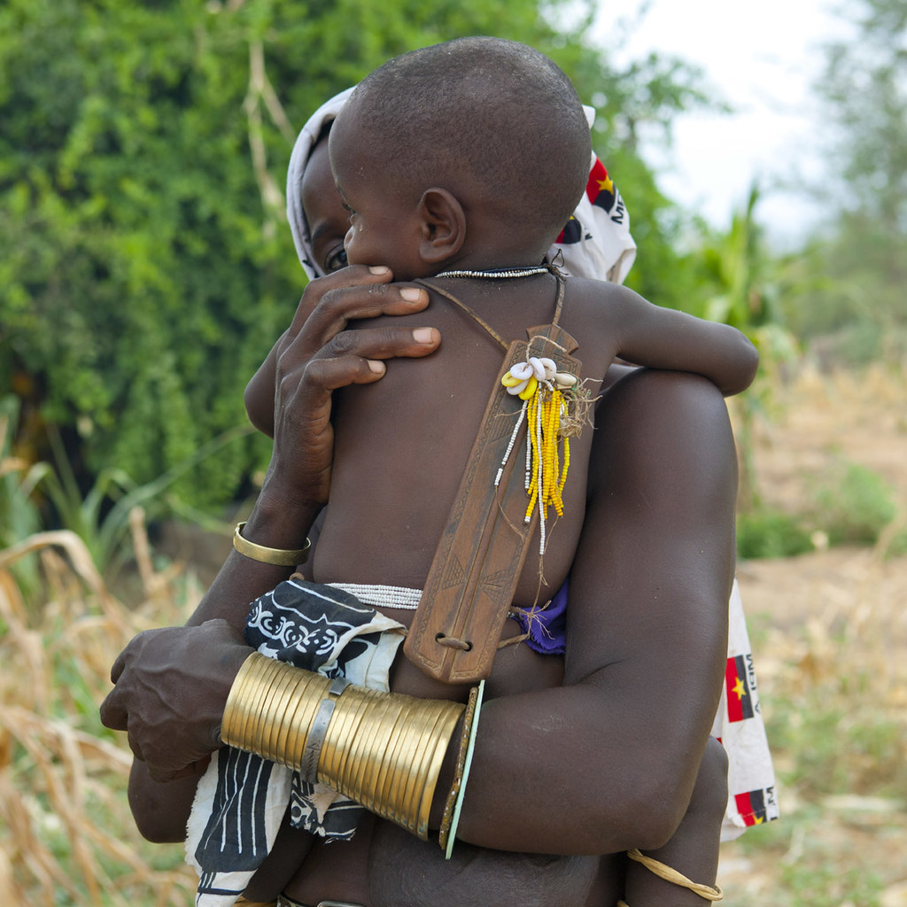 Mucubal Baby With An Ombeleketha Talisman On The Back, Virie Area, Angola