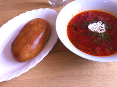 Vegetable Borsch and bacon, potato and onion piroshky at Russian Passion, Edinburgh