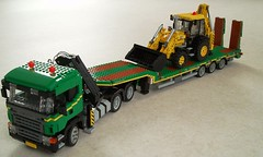 Scania with Nooteboom stepframe trailer (1) (Mad physicist) Tags: truck model lego scania nooteboom stepframe