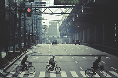 . (joannablu kitchener) Tags: road street urban japan japanese lights nikon traffic f14 streetphotography 85mm bicycles kobe zebra nikkor kansai riders d90 joannablu