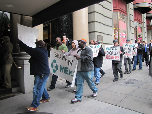 AHF Protests Merck