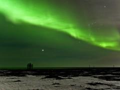 Green Belt (Magic Pea) Tags: sky snow green night stars landscape photography lights coast photo iceland magical northernlights auroraborealis selfoss magicpea
