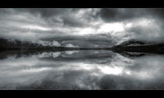Mirrored (scott masterton) Tags: uk morning light white black clouds scott mono scotland ross still pentax calm loch scape refection fascinating maree masterton gairloch wester sigma1020mm k200d