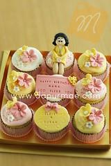 Simple Pink n Yellow Cupcake
