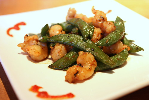Lobster with Garlic Sugar Snap Peas