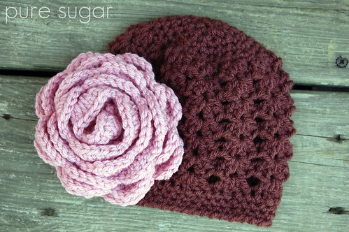 baby hat with oversized rose