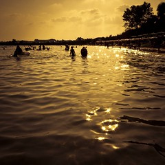 A Golden Moment in the Black Sea (Gilderic Photography) Tags: trip sea summer vacation sky cloud sun mer black beach water square lumix soleil eau europe raw panasonic ciel bulgaria burgas plage contrejour ete lightroom bulgarie noire carre 500x500 nessebar nessabar gilderic lx3 dmclx3