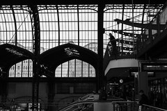 """Waiting for someone or something..."" / The light that defines us (zgr Grgey) Tags: 2016 50mm bw d750 hamburg hauptbahnhof nikon architecture structure trainstation waiting germany"