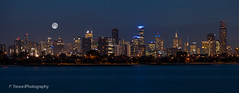 Melbourne skyline at night (trevorjphotography) Tags: skyscrapers nightphotography bluehour wideanglelens water longexposure le cityscape panorama melbourne victoria australia shoreline coastline coast blurrywater smoothwater canoneos5dmarkii ef24105mmf4lisusm buildings citylights apartmenttowers officetowers rialto fullmoon