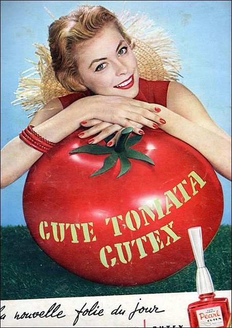 the 1950s-ad for cute tomata Cutex nail polish