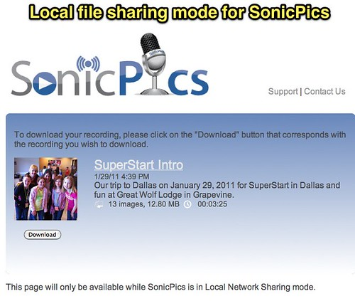 Local file sharing mode for SonicPics