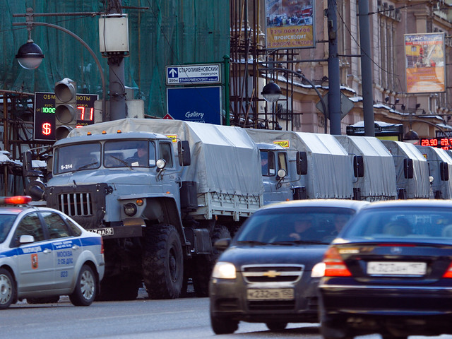 "Police trucks near Triumfalnaya square in Moscow prior to ""Strategy - 31"" action, 31Jan2011"