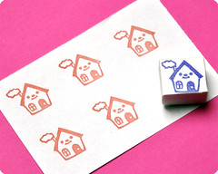 Little house hand carved rubber stamp