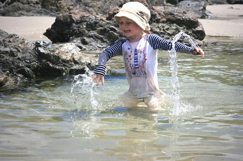 running & splashing