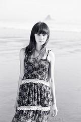 Chandee (Andrew S. Gibson) Tags: ocean sea newzealand portrait blackandwhite beach girl monochrome beautiful fashion pretty auckland northisland karekarebeach chandee