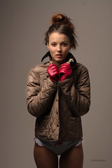 Red Glove Snug  (tombarber50) Tags: pink blue sexy beautiful beauty fashion socks contrast hair studio photography glamour focus ribbons shoot slim underwear boots makeup jacket wellington brunette barbour tanned wellis