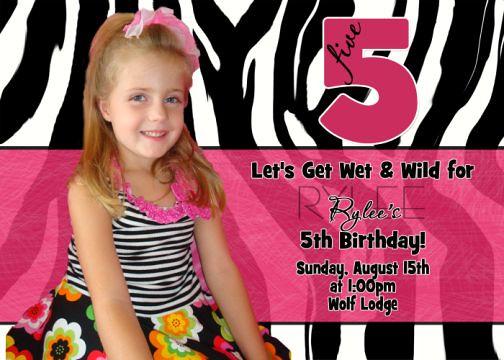 Black White Zebra Print Hot Pink Child's Birthday Invitation