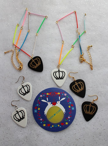 Queens Of Sounds Jewellery - QOS Logo Plectrum collection with Lucky Sticker