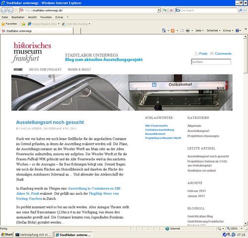 Stadtlabor unterwegs Webseite. Februar 2011