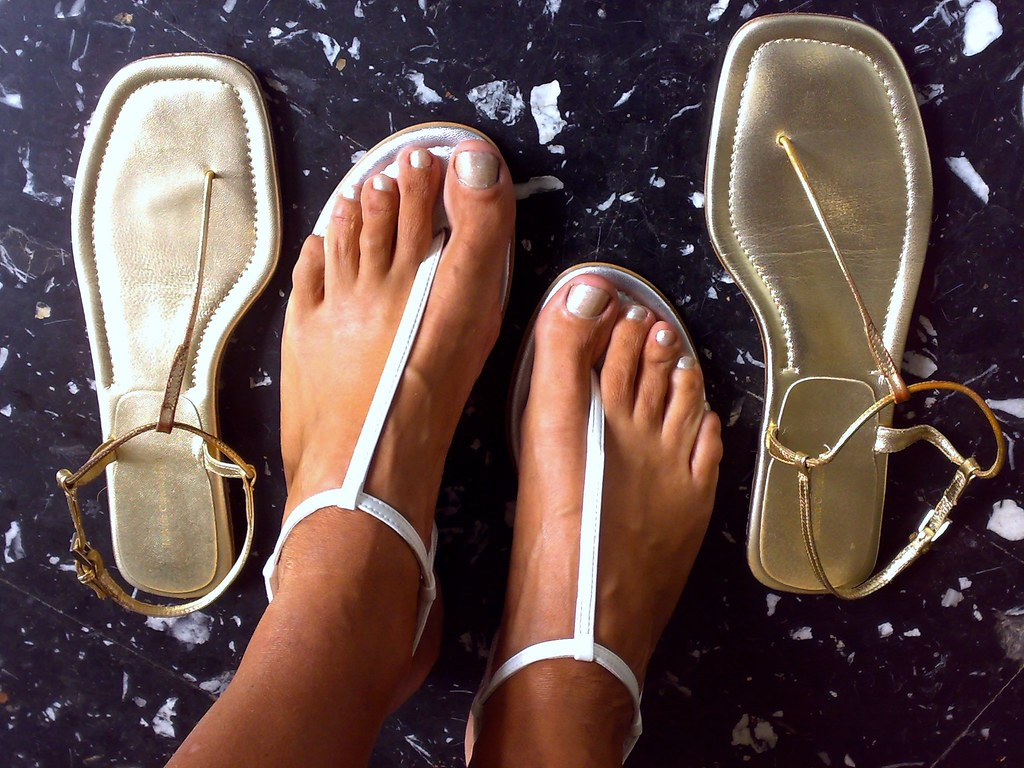 Silver & Gold Thong Sandals