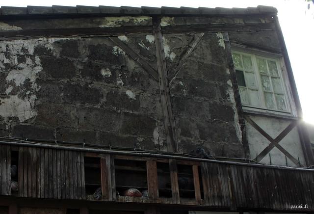 Vieux pigeonniers, habritant les oiseaux de Paris contre un vieil immeuble délabré