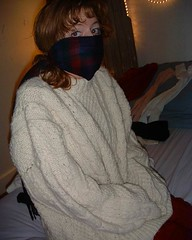 DSCF2009_2 (facecover) Tags: sweater mask jumper redheads aran coveredhands
