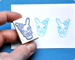 Hand carved rubber stamp rabbit